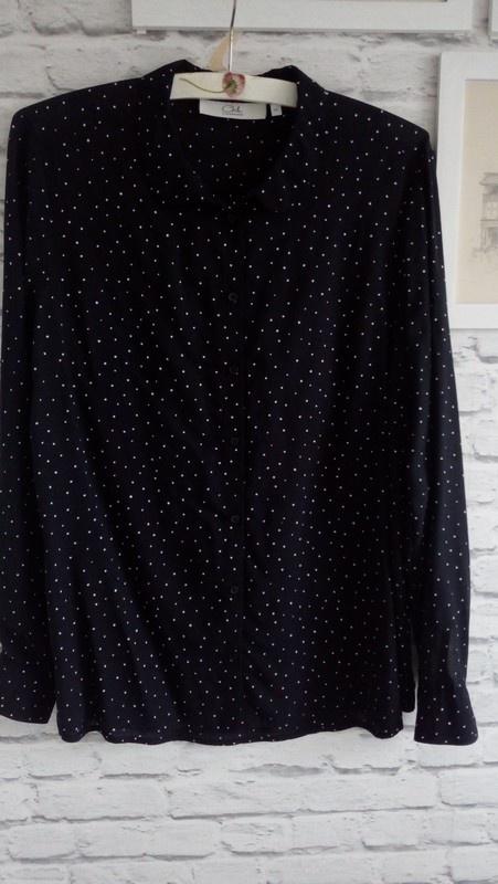 Czarna bluzka w białe kropki C&A roz 44