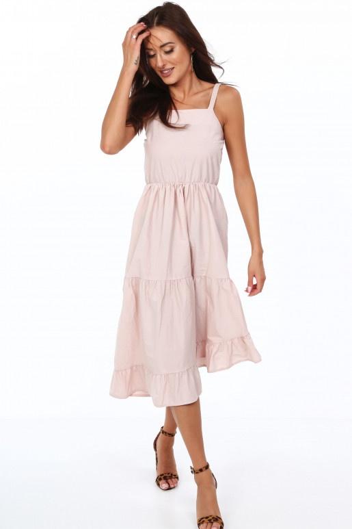 Pudrowa sukienka letnia z falbanami