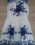 NOWA sukienka biała w kobaltowe róże rozmiar S