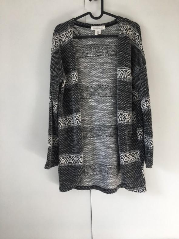 kardigan we wzory hm narzutka dlugi sweter 170