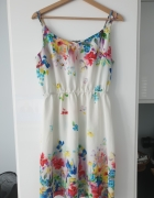 Sukienka na codzień L biała w kwiaty...