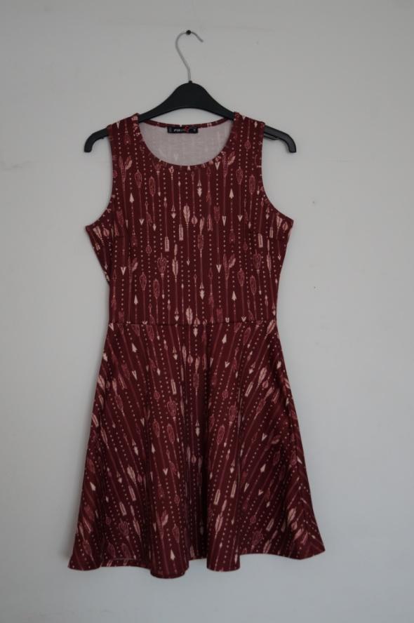 Suknie i sukienki Bordowa sukienka w listki New Yorker rozmiar S