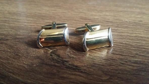 Nowe pozłacane spinki do mankietów elementy srebra