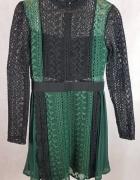 Nowa piękna sukienka czarno zielona M L plisy koronka...