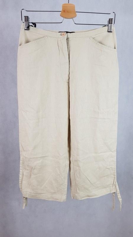 Spodnie lniane rybaczki L