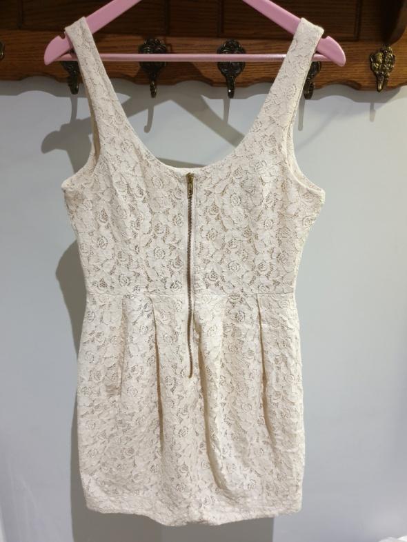 Suknie i sukienki H&M KORONKOWA SUKIENKA ECRU ZAMEK Z PRZODU R L