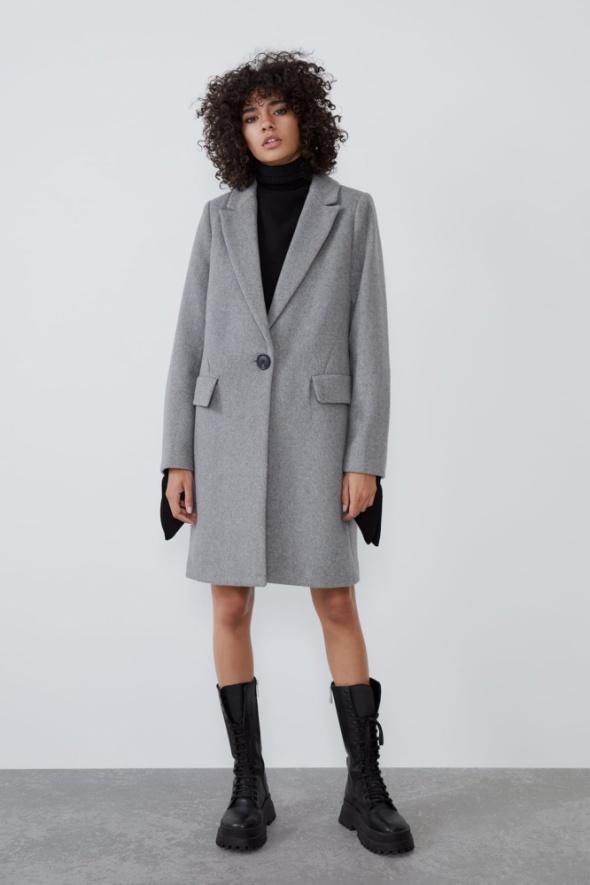 Zara wełniany płaszcz o prostym kroju nowy z metką L...
