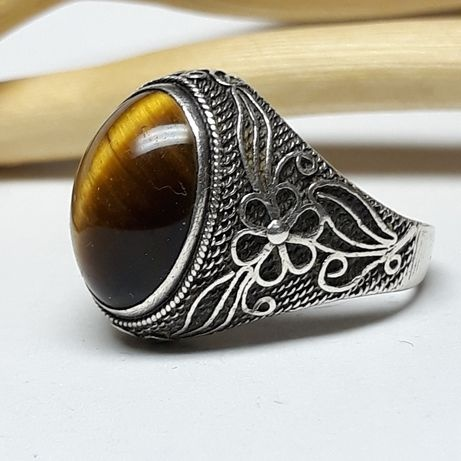 Stary srebrny pierścionek Chinka lata 60 70...