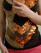 vintage bluzka czarna czarny złota złoty cekiny wzory na ramiąc...