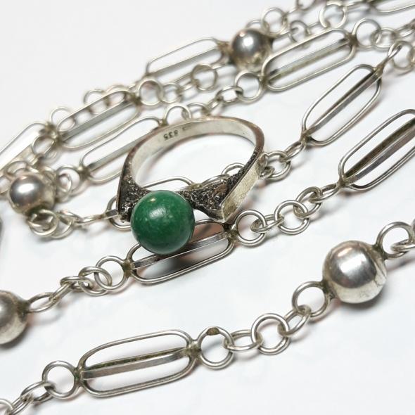 Stary srebrny pierścionek srebro 835 kulka...