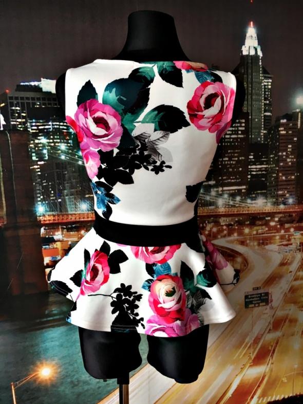 quiz bluzka baskinka kwiaty floral kokarda jak nowa 36 w