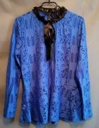 Niebieska Wizytowa Ażurowo Koronkowa Bluzka Rozmiar One Size...