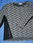 Melańżowa Bluza Biało Czarna z Zamkami