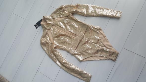 Piękne złote body cekiny zip choker mega...
