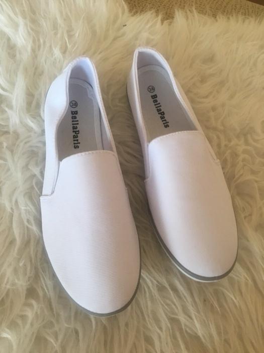 Nowe białe mega wygodne baleriny trampki lycra espadryle z