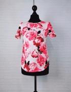 8 36 S Dorothy Perkins Pudrowy róż bluzeczka w różowe róże...