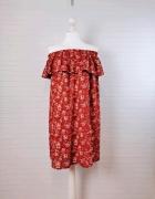 14 42 XL Atmosphere Plus Size Brązowa sukienka hiszpanka w kwia...