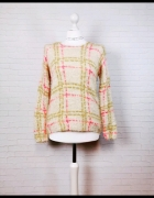 8 36 S Miss Selfridge Cytrynowy sweterek różowa kratka...