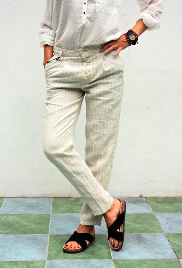 Spodnie Włoskie spodnie Adamus len bawełna