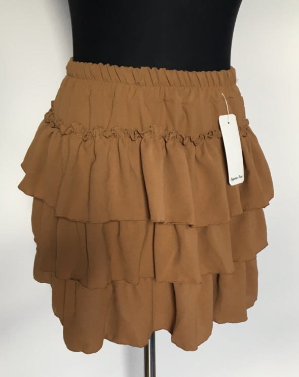 Karmelowa brązowa spódniczka z falbankami...