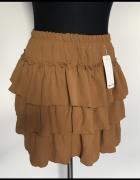 Karmelowa brązowa spódniczka z falbankami