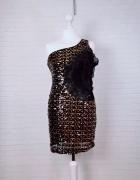 10 38 M Miso Czarna sukienka złote czarne cekiny...
