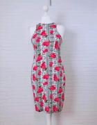14 42 XL Atmosphere Plus Size Czarna biała różowa sukienka w ró...