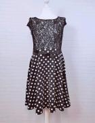 12 40 L Greence Czarna biała sukienka w groszki grochy...