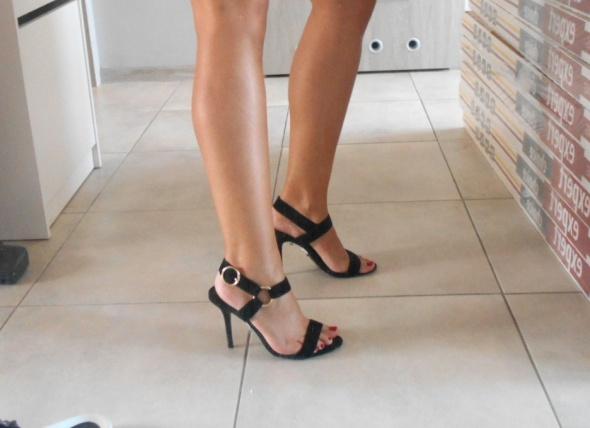 Topshop czarne szpilki sandały na obcasie skóra skórzane...