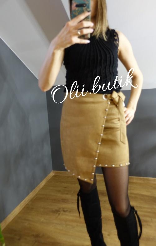 Spódnice Spódniczka welur brąz M L