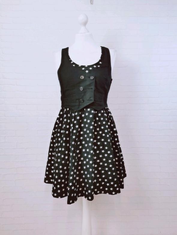 Suknie i sukienki 10 38 M H&M Czarna sukienka kamizelka białe gwiazdki