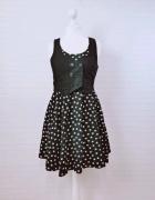 10 38 M H&M Czarna sukienka kamizelka białe gwiazdki...