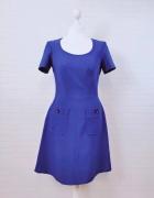 8 36 S Pepperberry Niebieska kobaltowa sukienka z kieszeniami...
