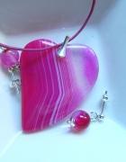 Różowe serce z agatu wisiorekkolczyki srebro zestaw biżuterii...
