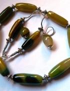 Żółto zielone agaty naszyjnik i kolczyki zestaw biżuterii...