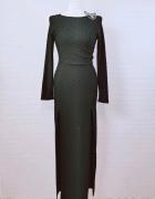 10 38 M Club L Czarna maxi sukienka z seksownymi rozcięciami...