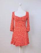 8 36 S ZARA Czerwona sukienka tunika w białe kwiaty...