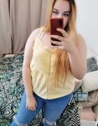 18 46 3XL George Plus Size Żółta cytrynowa bluzeczka na ramiącz...