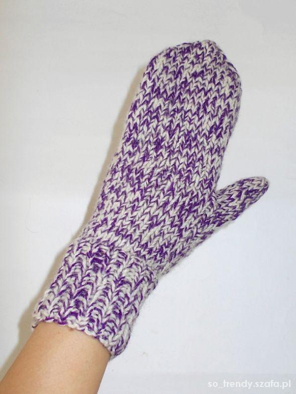 Grube wełniane rękawiczki jednopalczaste na zimę