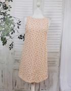 10 38 M New Look Brzoskwiniowa biała koronkowa sukienka w kwiat...