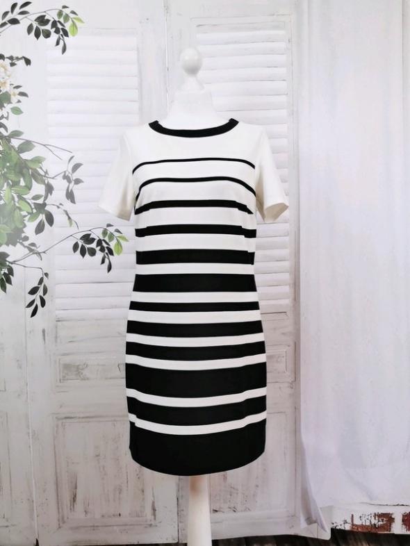 10 38 M Dorothy Perkins Czarna kremowa sukienka w paski...