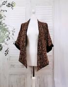 8 36 S C&A Czarne brązowe brzoskwiniowe kimono narzutka...