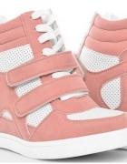 sneakersy różowe pudrowe 40 na koturnie...