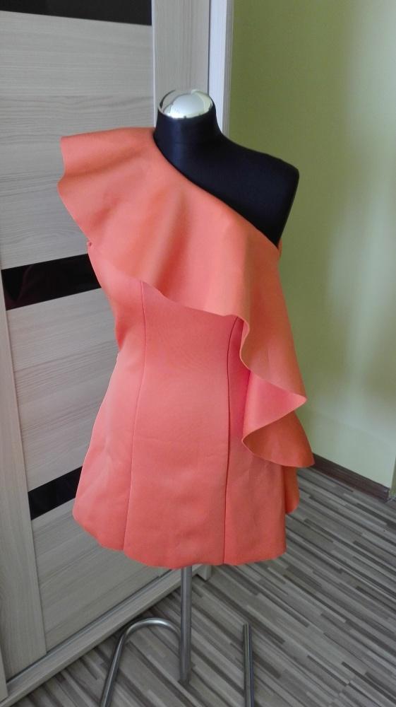 Sukienka falbana asymetryczna xxs xs 32 34 Asos