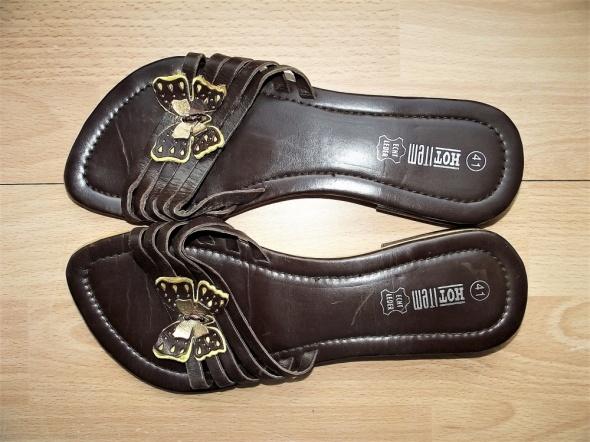 HOT ITEM skórzane klapki obuwie 41 skóra naturalna