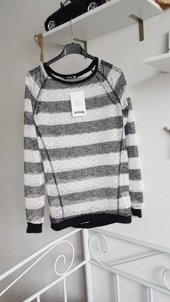 SinSay nowy sweterek mgiełka siateczka paski...