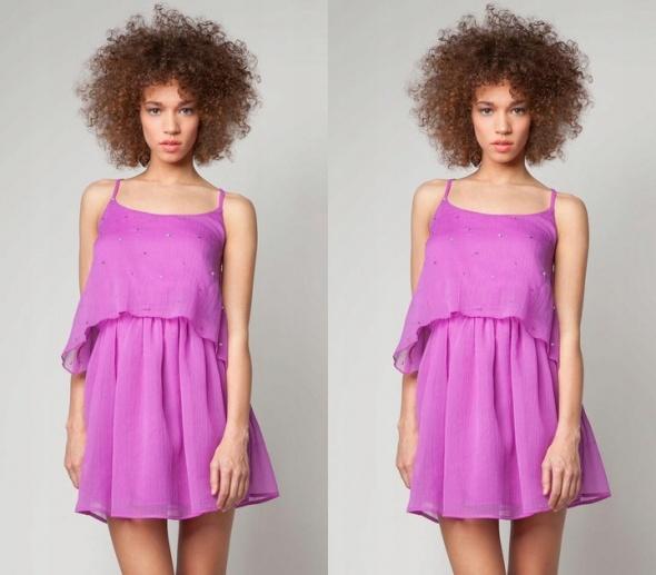 Sukienka Bershka fioletowa wysadzana warstwowa rozmiar S...