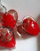 Szkło weneckie czerwone serca zestaw...