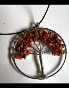 Wire wrapping wisiorek drzewo brązowe kamienie...