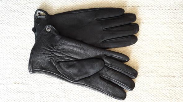 Rękawiczki męskie skórzane skóra wełna wełniane ocieplane rozmiar S M
